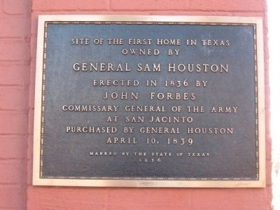 Site of the first home in Texas owned by General Sam Houston image. Click for full size.