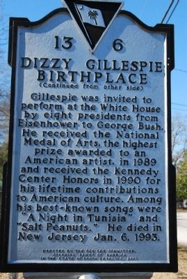 Dizzy Gillespie Birthplace Marker image. Click for full size.