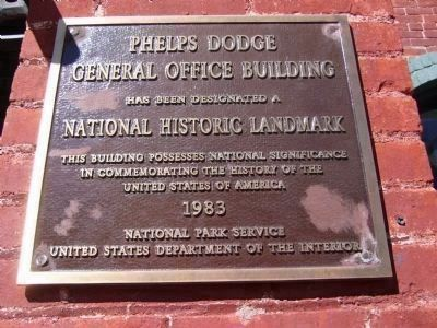 Phelps Dodge General Office Building National Historic Plaque image. Click for full size.