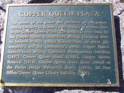 Copper Queen Plaza Marker image. Click for full size.