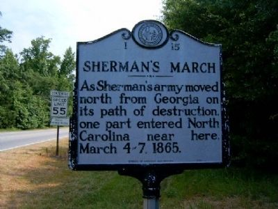 Sherman's March, Marker I-15 image. Click for full size.