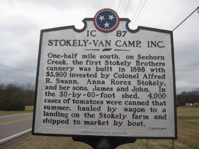 "Stokely-Van Camp, Inc. Marker Side ""A"" image. Click for full size."