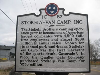 "Stokely-Van Camp, Inc. Marker Side ""B"" image. Click for full size."