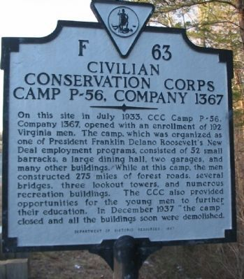 Civilian Conservation Corps Camp P-56, Company 1367 Marker image. Click for full size.