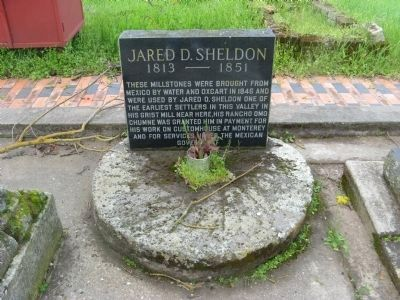 Jared D. Sheldon Marker and Millstone image. Click for full size.