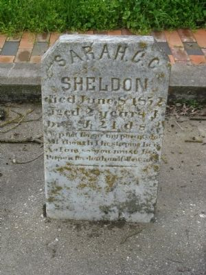 Grave Marker of Sarah Sheldon, Daughter of Jacob and Catherine Sheldon image. Click for full size.