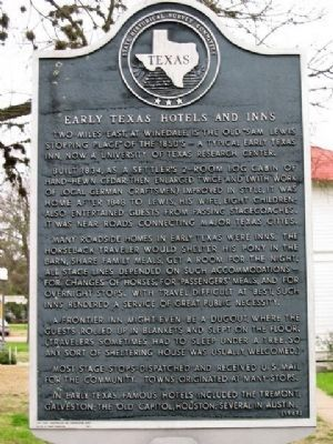 Early Texas Hotels and Inns Marker image. Click for full size.
