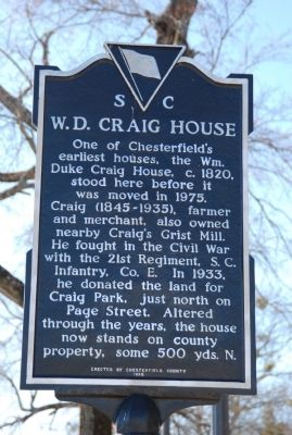 W. D. Craig House Marker image. Click for full size.
