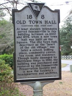 The Old Town Hall Marker, reverse side image. Click for full size.