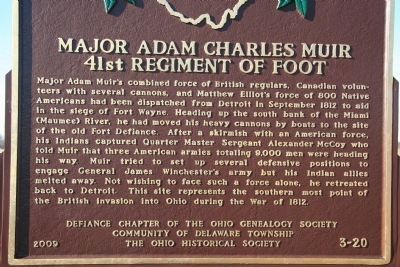 Major Adam Charles Muir, 41st Regiment of Foot Marker image. Click for full size.