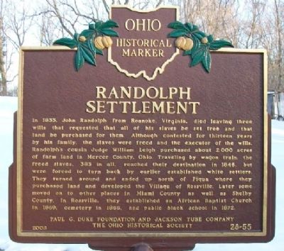 Randolph Settlement Marker (Side A) image. Click for full size.