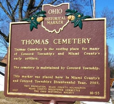 Thomas Cemetery Marker (Side A) image. Click for full size.