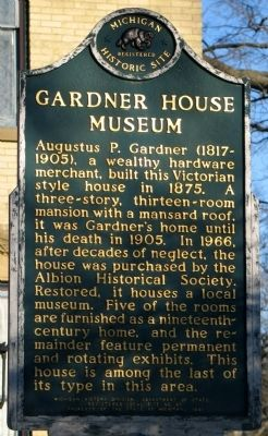 Gardner House Museum Marker image. Click for full size.