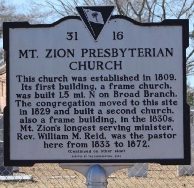 Mt. Zion Presbyterian Church Marker image. Click for full size.