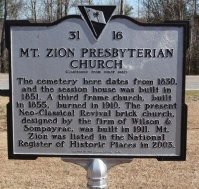 Mt. Zion Presbyterian Church Marker, reverse side image. Click for full size.