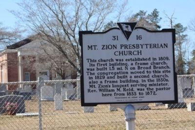 Mt. Zion Presbyterian Church, Cemetery and Marker image. Click for full size.