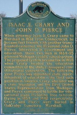Isaac E. Crary and John D. Pierce / State School System Marker image. Click for full size.