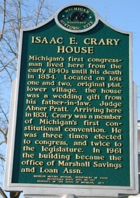Isaac E. Crary House Marker image. Click for full size.