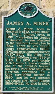 James A. Miner Marker image. Click for full size.