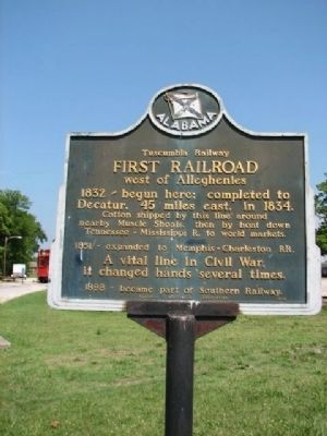 Tuscumbia Railway First Railroad west of alleghenies Marker image. Click for full size.