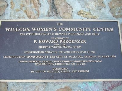 The Willcox Women's Community Center Marker image. Click for full size.