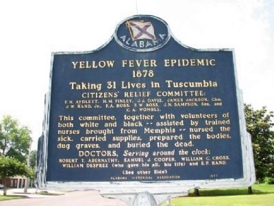 Yellow Fever Epidemic 1878 Marker - Side A image. Click for full size.
