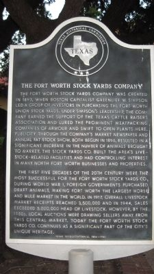 Fort Worth Stock Yards Company Marker image. Click for full size.