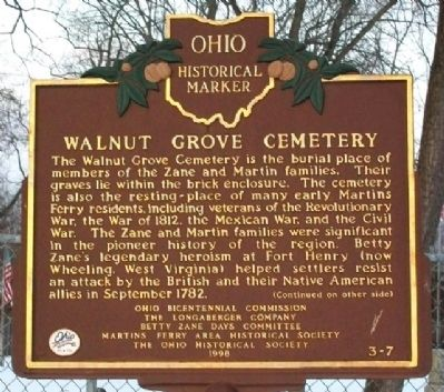 Walnut Grove Cemetery Marker (Side A) image. Click for full size.