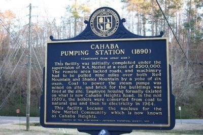 Cahaba Pumping Station (1890) Marker - Side B image. Click for full size.