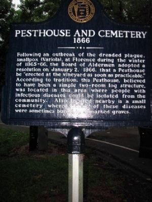 Pesthouse and Cemetery Marker - Side 1 image. Click for full size.