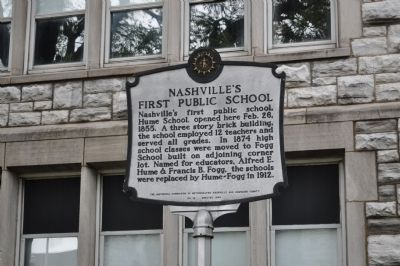 Nashville's First Public School Marker image. Click for full size.