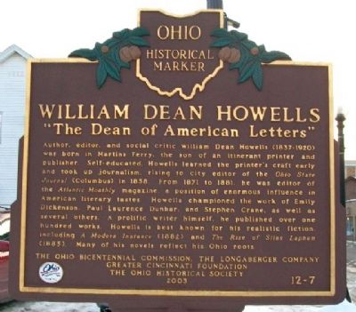 William Dean Howells Marker (Side A) image. Click for full size.