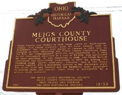 Meigs County Courthouse Marker (Side B) image. Click for full size.