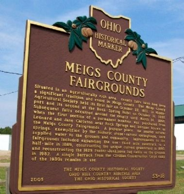 Meigs County Fairgrounds Marker image. Click for full size.