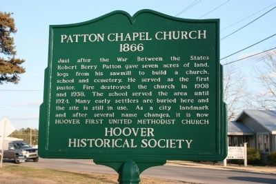 Patton Chapel Church 1866 Marker image. Click for full size.