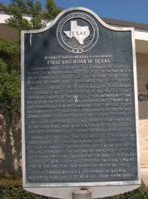 First Railroad in Texas Marker image. Click for full size.