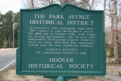 The Park Avenue Historical District Marker image. Click for full size.