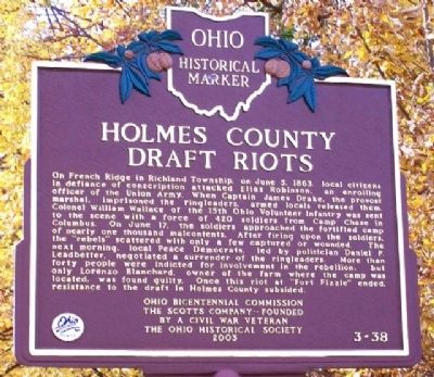 Holmes County Draft Riots Marker image. Click for full size.