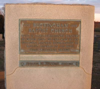 Buckingham Baptist Church Marker image. Click for full size.