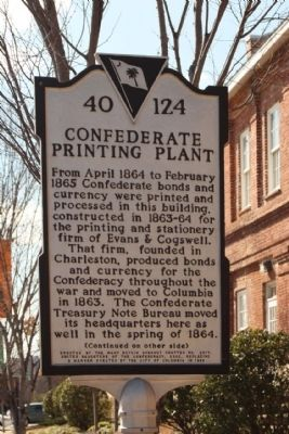 Confederate Printing Plant Marker image. Click for full size.