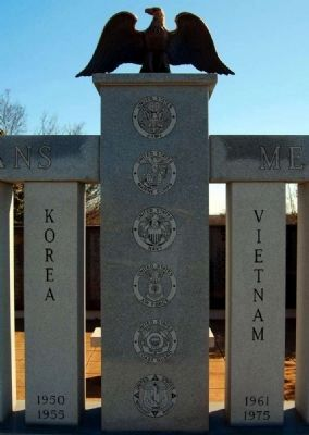 Greenville County Veterans Memorial -<br>Center Column Showing Military Seals image. Click for full size.