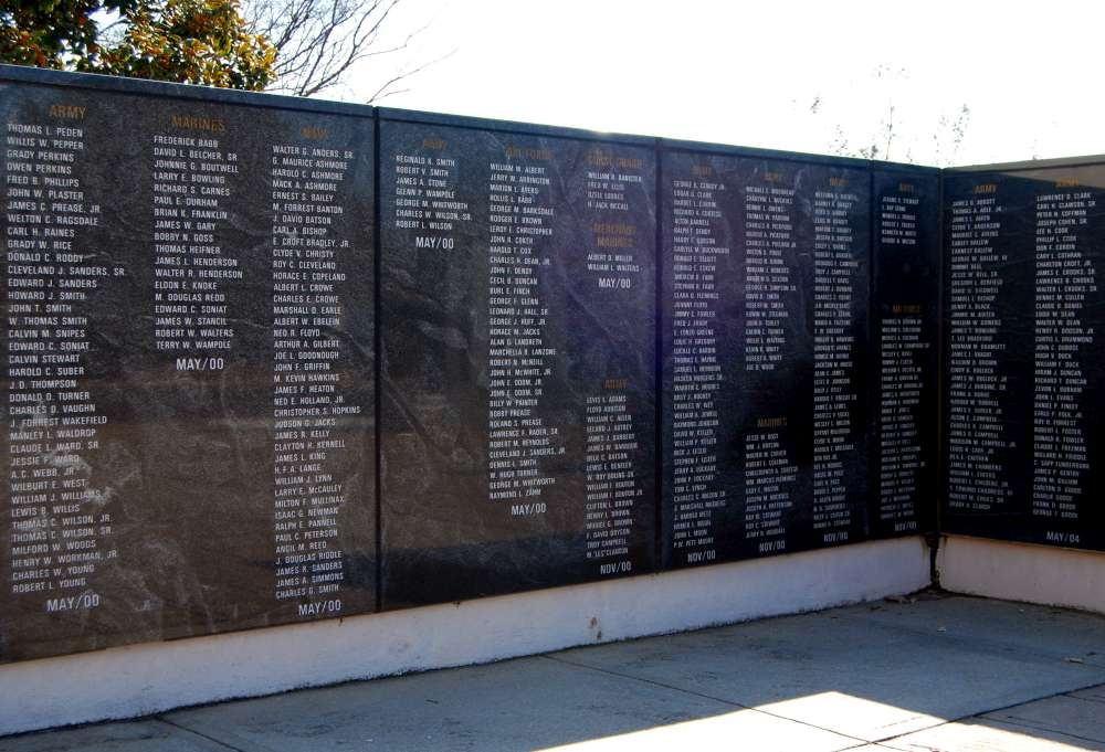 Section of the Greenville County<br>Veterans Memorial Wall