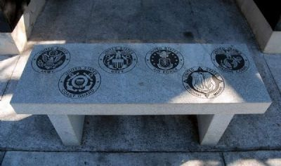 Stone Bench Engraved with<br>Military Branch Seals image. Click for full size.