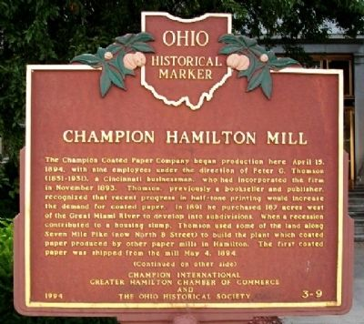Champion Hamilton Mill Marker (Side A) image. Click for full size.