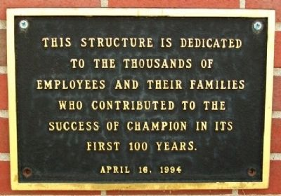 Champion Hamilton Mill Employees Marker image. Click for full size.