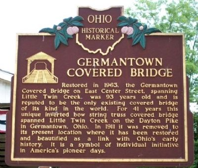 Germantown Covered Bridge Marker (Side A) image. Click for full size.