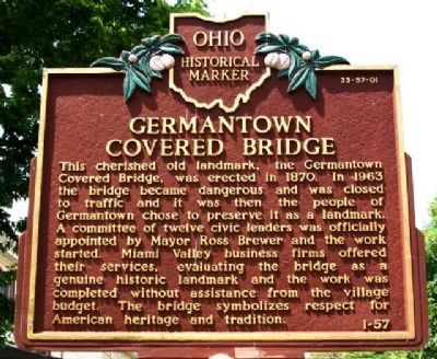 Germantown Covered Bridge Marker (Side B) image. Click for full size.