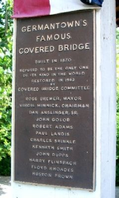 Germantown Covered Bridge Marker image. Click for full size.