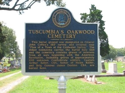 Tuscumbia's Oakwood Cemetery Marker image. Click for full size.