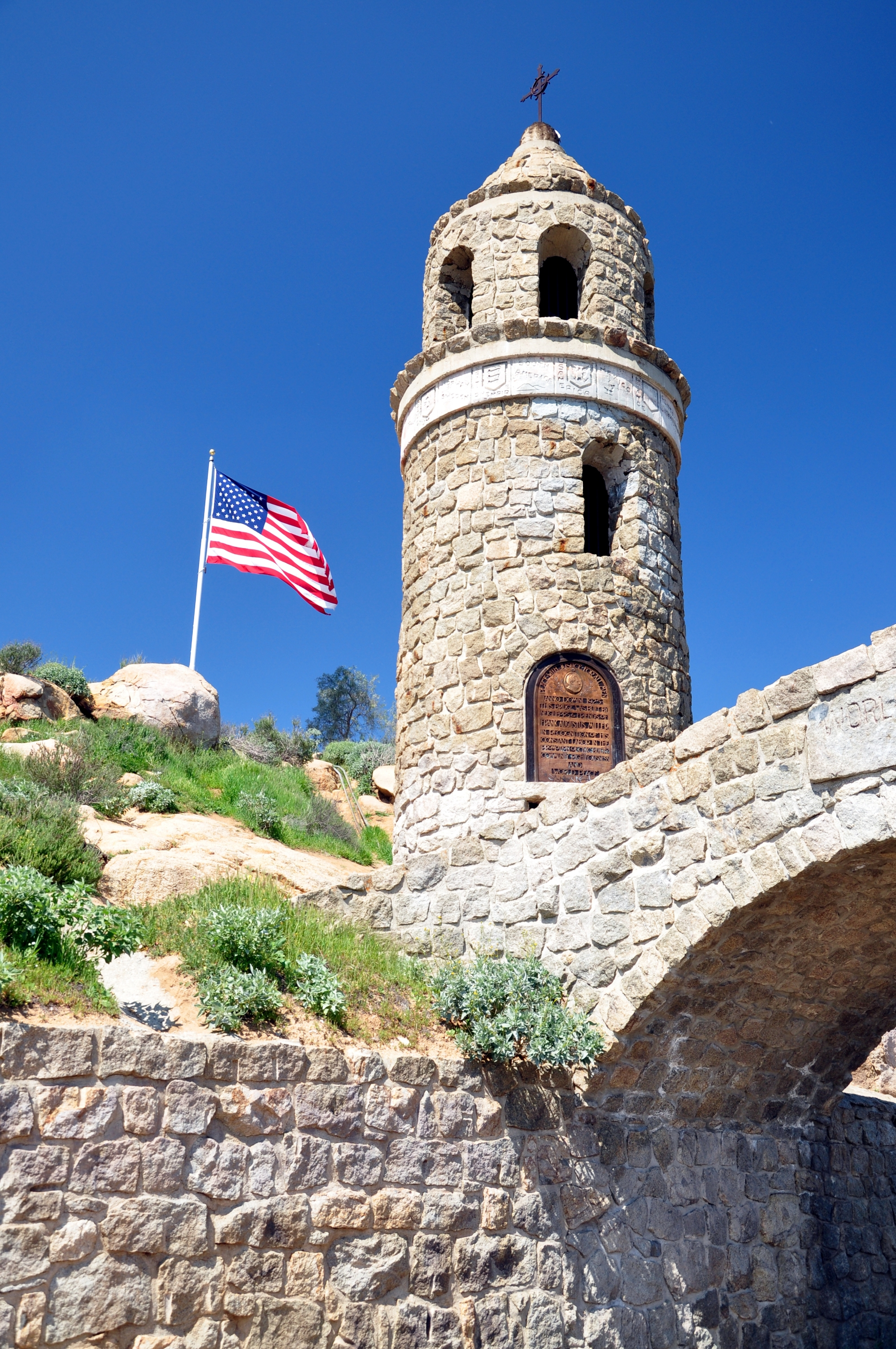 View of the Peace Tower at the top of Mount Rubidoux